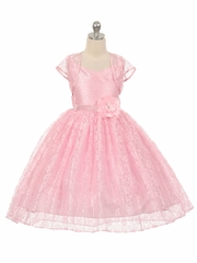 CLEARANCE - High-Low Pink Floral Lace Dress w/ Matching Bolero