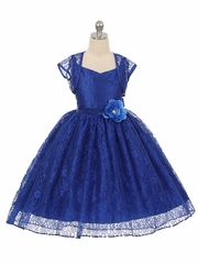 High-Low Royal Blue Floral Lace Dress w/ Matching Bolero