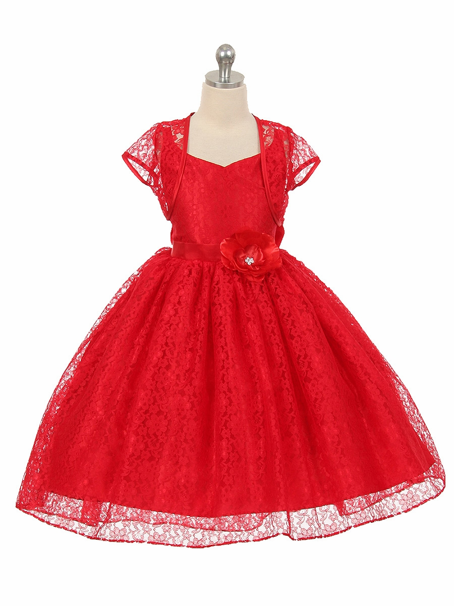 High Low Red Floral Lace Dress W Matching Bolero