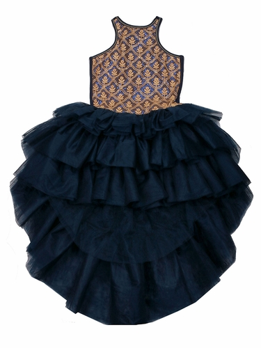 Honey/Navy Ooh! La La! Couture WOW Chloe High Low Dress