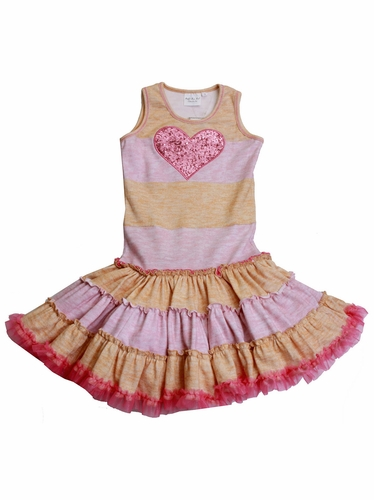 Ooh! La La! Couture Honey/Pink Striped Twirly Dress