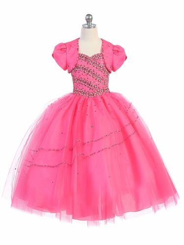 CLEARANCE - Hot Pink Beaded Ball Gown w/ Bolero