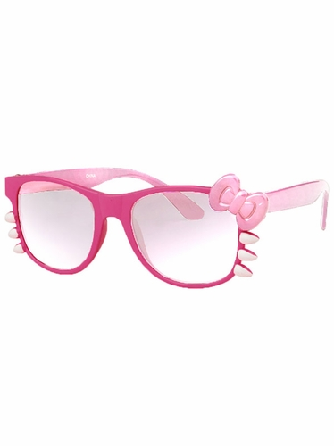 Hot Pink Junior Clear Polycarbonate Lens Sunglasses w/Bow
