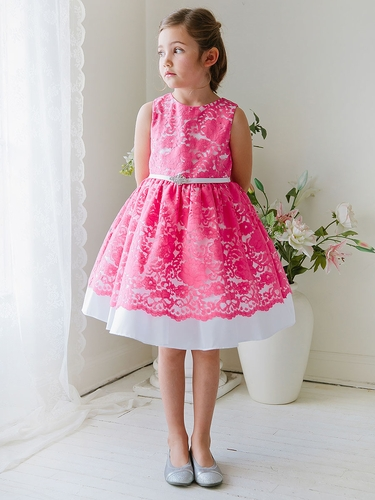Hot Pink Taffeta Dress w/ Flower Lace Overlay