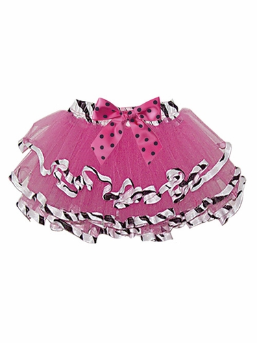 Hot Pink Tutu w/Zebra Trim on Bottom of Skirt & Waist