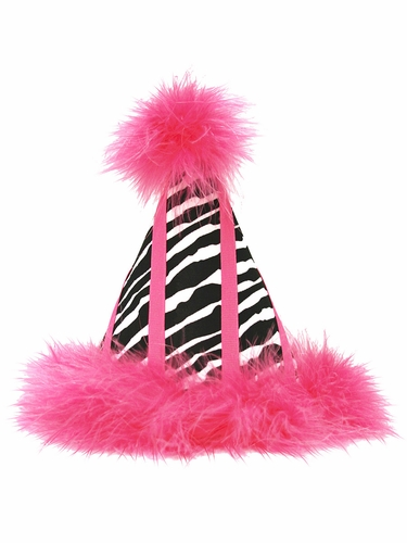 Hot Pink Zebra Print Birthday Party Hat