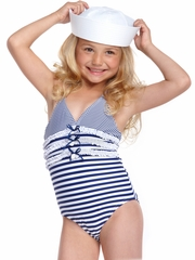Hula Star White/Navy Striped 1PC w/ Ruffle Flower Detail