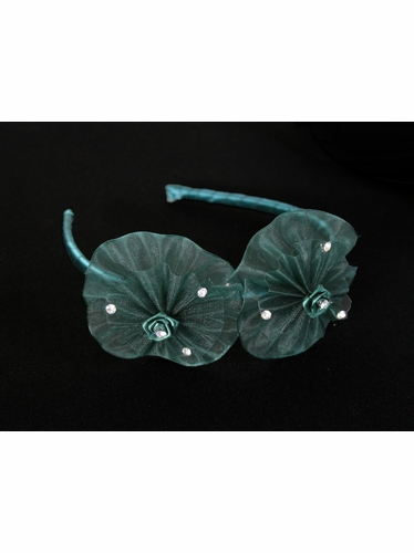 Hunter Green Organza Flower Bow & Rhinestone Headband