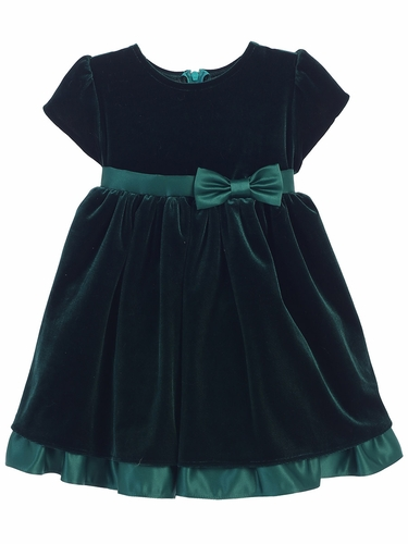 Hunter Green Stretch Velvet Holiday Baby Dress