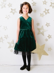 Hunter Green Stretch Velvet & Tulle Holiday Dress