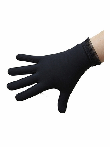 IceDress Black Thermal Figure Skating Gloves w/ Flounce