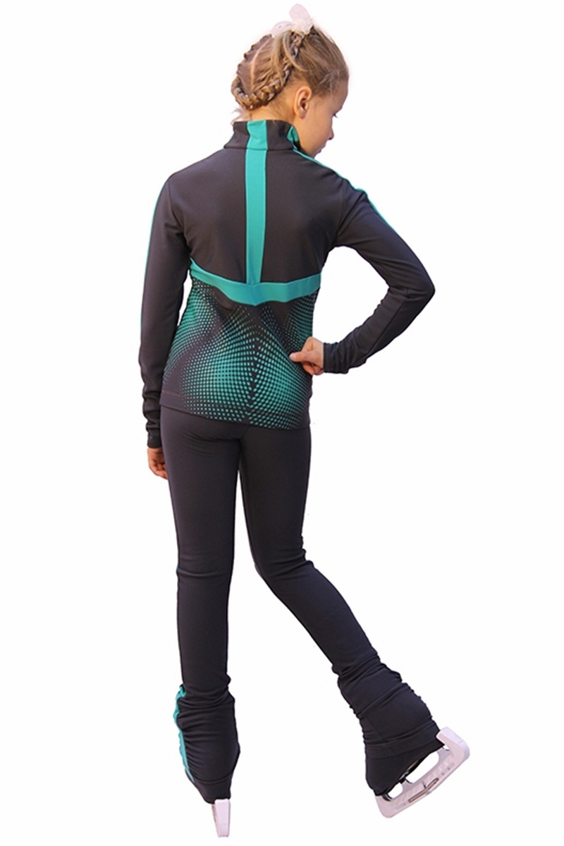Icedress Dark Grey W Mint Thermal Jump Figure Skating Outfit