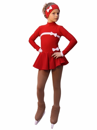 IceDress Red Thermal Bows Skating Dress