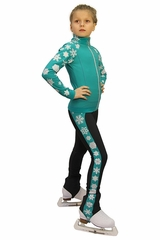 IceDress Mint Thermal Snowflake Figure Skating Outfit