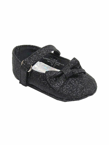 Infant Black Glitter Ribbon Shoes