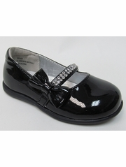Infant Black Patent Shoe w/ Rhinestone Strap & Bow