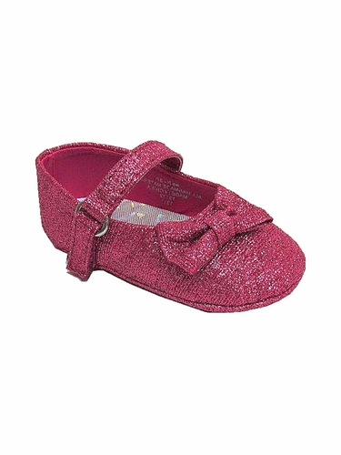 Infant Fuchsia Glitter Ribbon Shoes