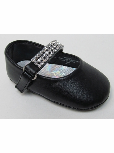 Infant Girls Black Shoe w/ Rhinestone Strap