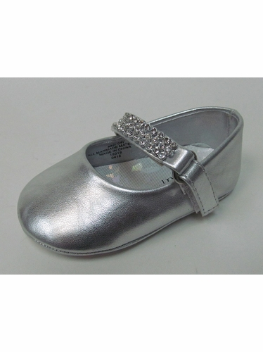Infant Girls Silver Shoe w/ Rhinestone Strap