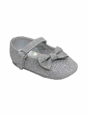 Infant Silver Glitter Ribbon Shoes