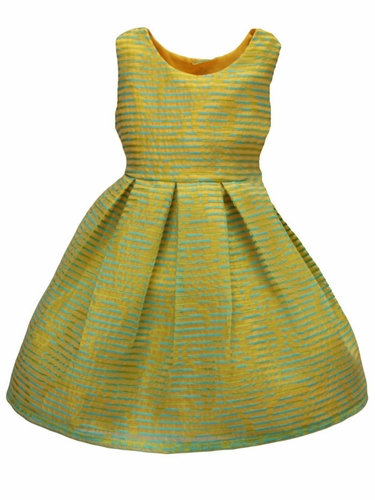 Isabel Garret�n Aqua & Yellow Organza Stripe Girls Dress