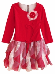 Isobella & Chloe Dallas Doll Red Long Sleeve Drop Waist Dress