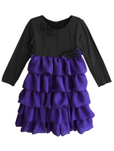 Isobella & Chloe Empire Night Wish Charcoal Chiffon Ruffles Dress