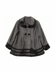 Isobella & Chloe Gray & Black Duchess Coat