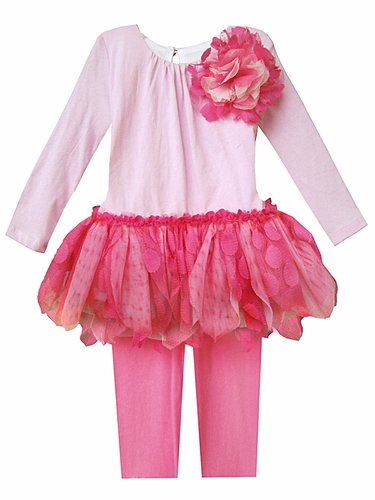 Isobella & Chloe Pink Sophia Long Sleeve 2 PC Pant Tutu Set