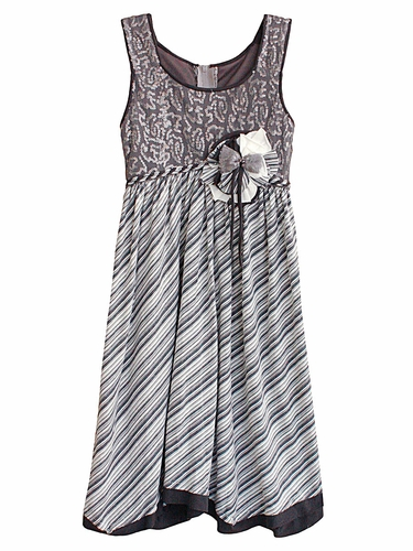 Isobella & Chloe Whirlwind Grey Sleeveless Empire Waist Dress