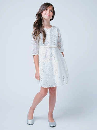 Ivory 3/4 Sleeve Sequin Lace Dress