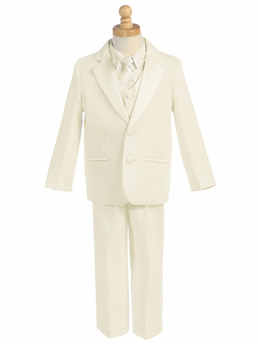 Ivory 5 Piece Two Button Tuxedo w/ Any Color Vest & Clip-On Necktie