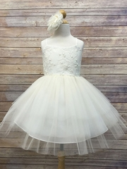 Ivory Beaded Dress w/ Multi-Tiered Skirt