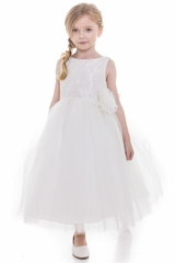CLEARANCE - Ivory Beaded Embroidered Bodice Tulle Dress w/ Hand Rolled Rosette