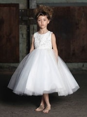 CLEARANCE: Ivory Beaded  Jacquard Ball Gown w/ Tulle Layered Skirt