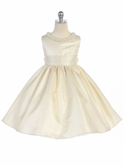 Ivory Beaded Neckline Fit & Flare Dress