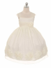 Ivory Big Flower Mesh Dress