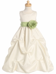Blossom Ivory Shantung Organza Dress w/Detachable Sash & Flower