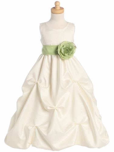 Ivory Blossom Sleeveless Shantung Organza Dress w/Detachable Sash & Flower