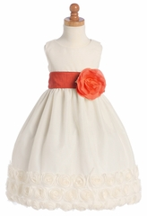 Ivory Blossom Tulle Dress w/ Floral Ribbon Edge & Detachable Sash & Flower