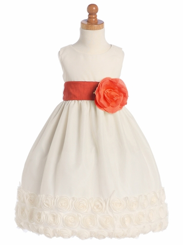 Ivory Blossom Sleeveless Tulle Dress w/Floral Ribbon Edge w/Detachable Sash & Flower