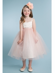 Ivory/ Blush Satin & Tulle Dress w/ Sash