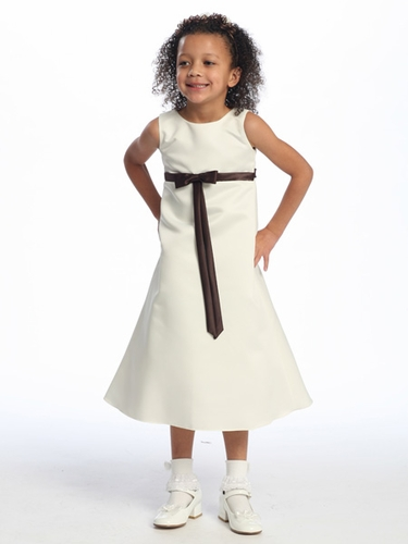 Brown Flower Girl Dress - Matte Satin A-Line Dress
