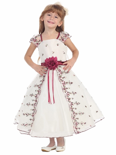 Ivory/Burgundy Floral Embroidered Organza Girl Dress