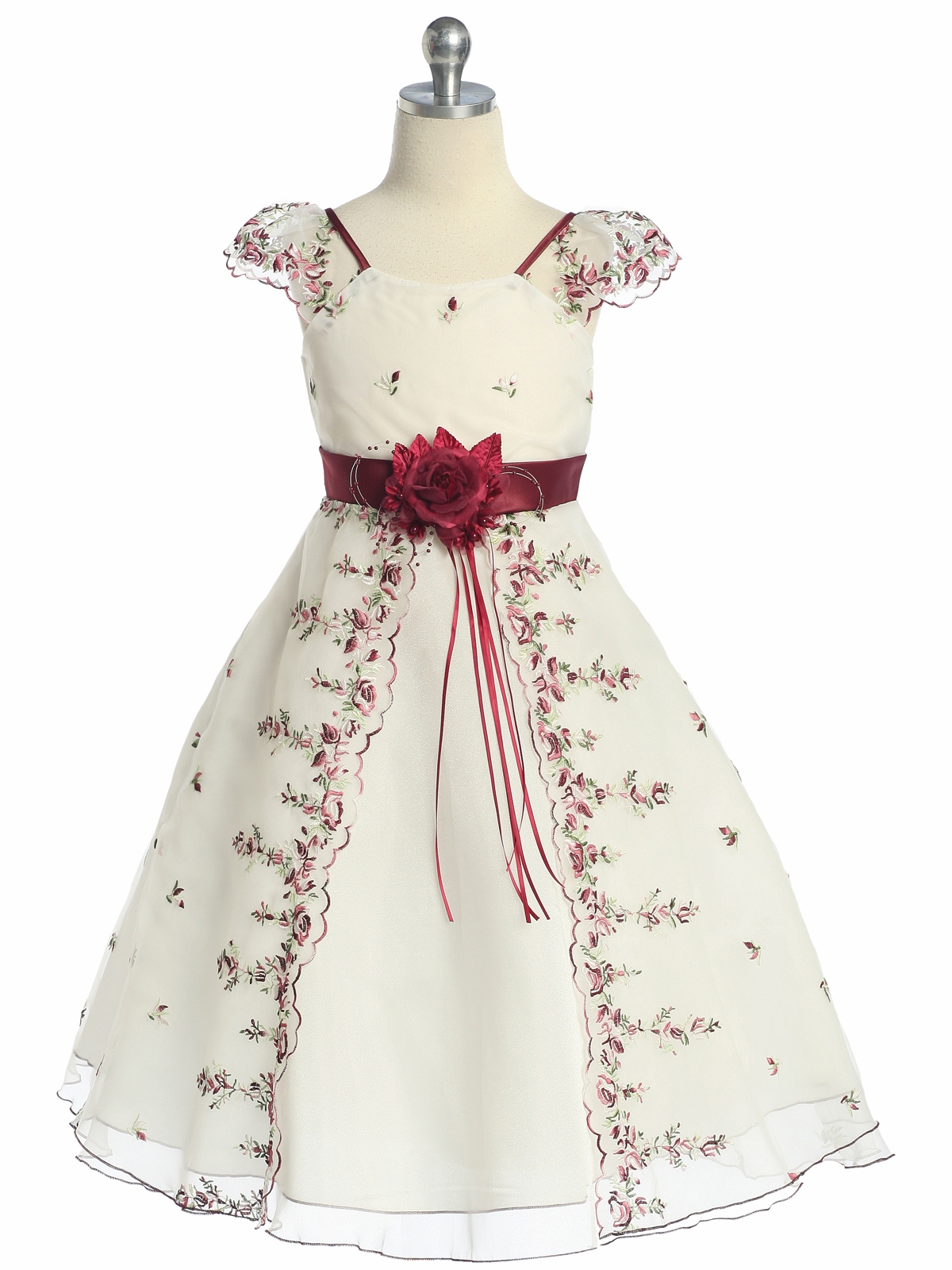 Ivory burgundy floral embroidered organza girl dress