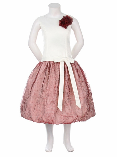 Ivory/Burgundy Satin Bodice w/Two Tone Crushed Organza Bubble Dress