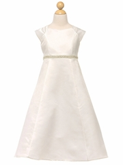 Ivory Cap Sleeve Dress w/ Embellished Waistband