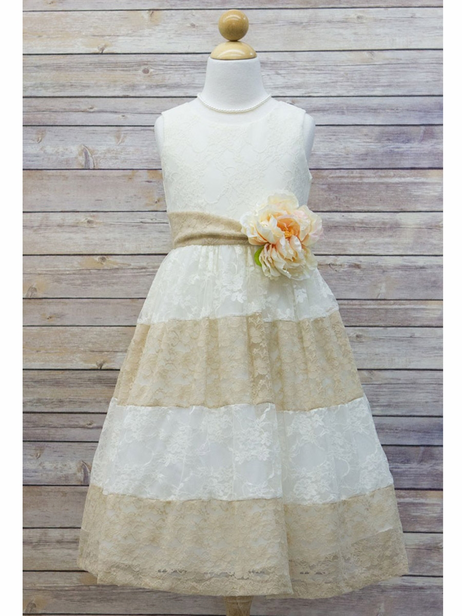Ivory Amp Champagne Lace Color Block Dress