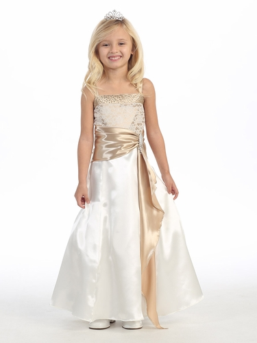 Ivory/Champagne Lace Jeweled Bodice w/ Satin Sash & Pin