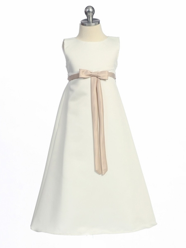 Champagne Flower Girl Dress - Matte Satin A-Line Dress